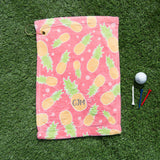 Tropical Print Golf Accessory - Pineapple Print Golf Towel Personalised With Initials - Funky Golf Wear
