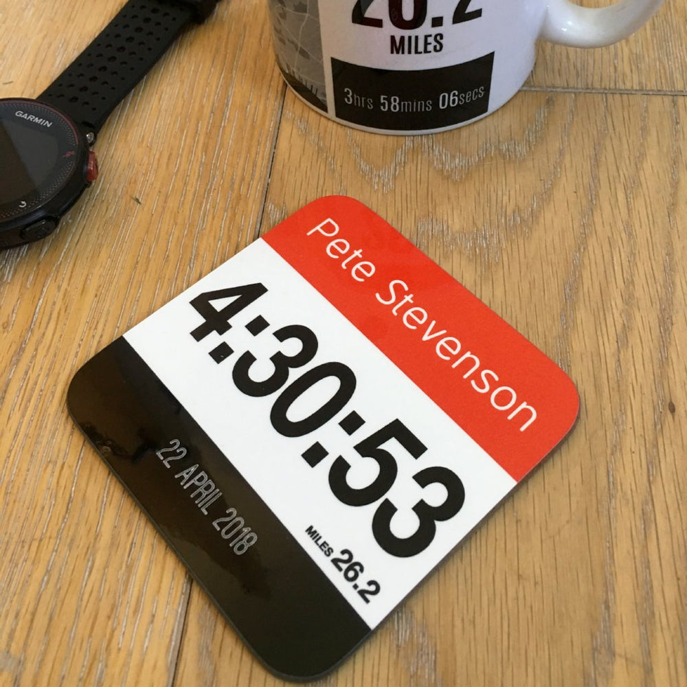 Coaster to celebrate Marathon Finisher - Commemorative gift finishers gift - Race number Design