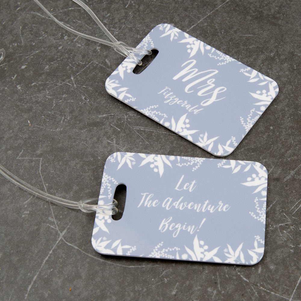 Wedding Gift For Couple - Winter Florals Themed Luggage Tag Set - Ideal Anniversary Or Honeymoon Gift