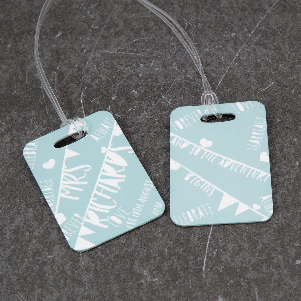 Wedding Honeymoon Present - Set Of Luggage Tags With Vintage Bunting Theme - Gift For Couple Or Hen Party