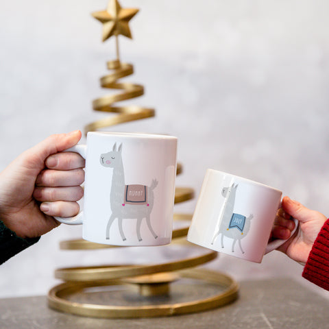 Llama Personalised Mug Set - Fun Mummy Daddy Baby Llama Drama Family Gift - Mama Papa Toddler Mug Set Christmas Eve Present