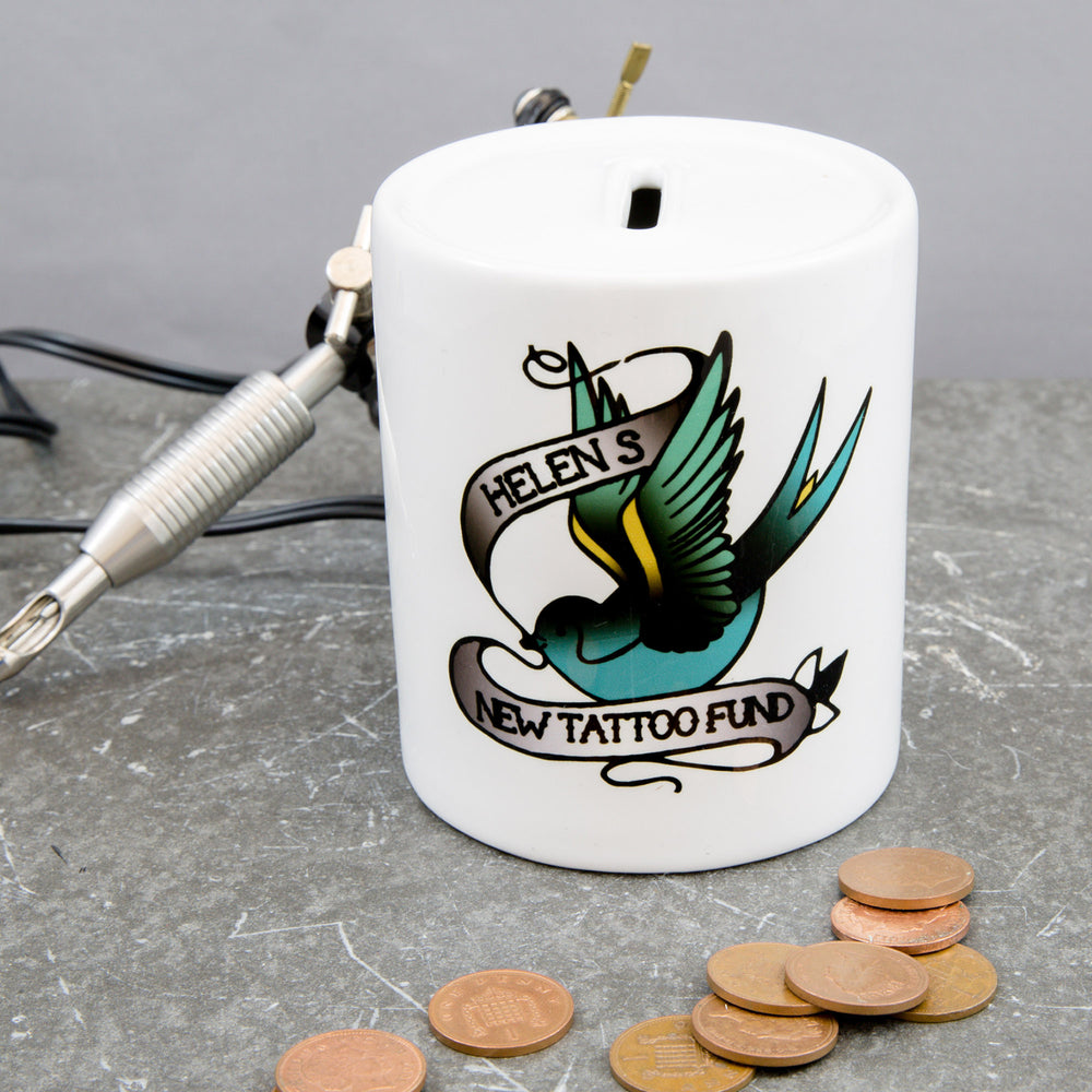 Tattoo Lovers Gift - Tattoo Fund Money Box - Ideal Stocking Filler Or Secret Santa Swallow Design