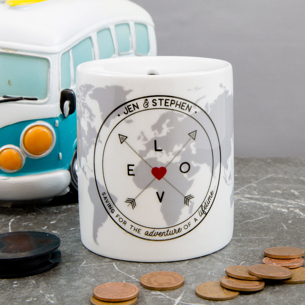 Couples Saving Fund Money Box - New Home Or Adventure Couple Gift - Newly Wed Savings Jar Present