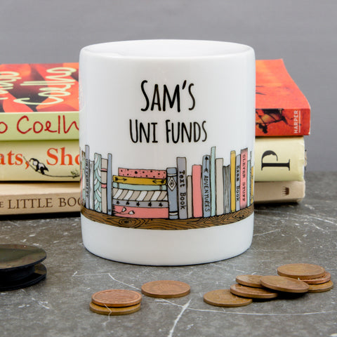 University Funds Money Box - Literature Books Themed Uni Fund Savings Jar - Student Or Teenage Gift