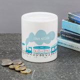 Custom New Baby Gift - Train Money Box Birth Announcement Personalised Name Date Time - For Modern Nursery