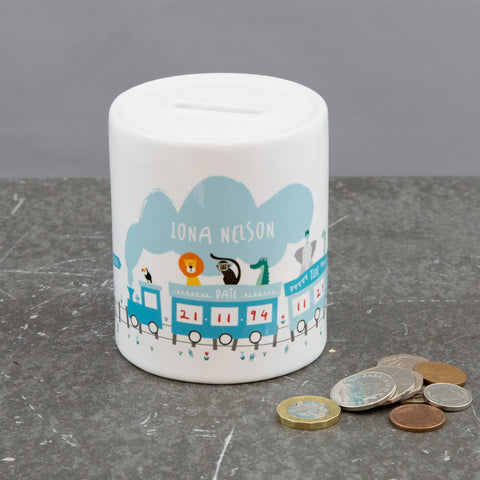 Personalised New Baby Gift - Adventure Animals On Train Money Box - Baby Gift