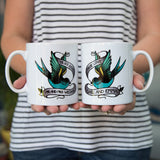 Romantic Tattoo Inspired Print - Personalised Swallow Tattoo Mug Set - Wedding Or Anniversary Gift