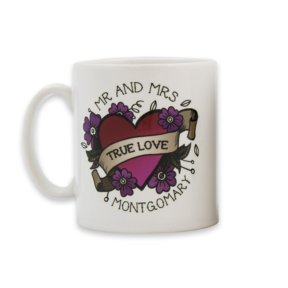 Mug Set For Couple - Sugar Skull Daisies And Illustrated Heart Tattoo Personalised - Wedding Gift