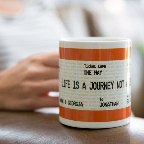Graduation or Leaving Gift Train Ticket Mug & Coaster