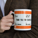 Teacher Gift Mug Ticket Inspired Print