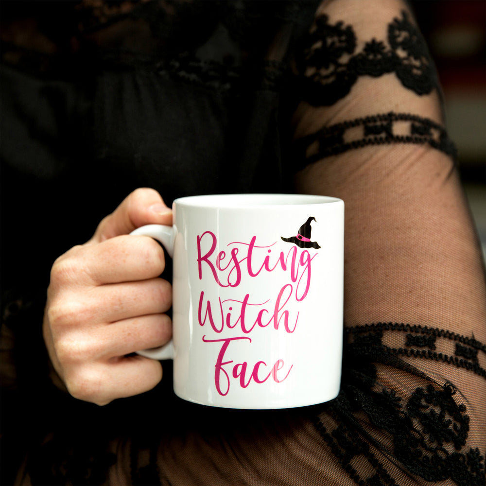 Funny Mug Gift - Resting Witch Face Mug Personalised - Halloween Or Stocking Filler Gift For Her Under £10