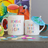 Mum And Child Gift - Dreaming Of A Siesta Or Fiesta - Mini Kids Mug And Adult Set For Daddy Mummy Toddler