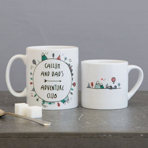 Adventure Gift Set - Daddy And Child Mug Set Mountain Scene For Babychino - Father's Day Dad Christmas Present