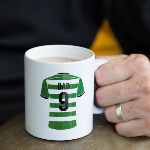 "Custom Team Kit Colours Mug - Any Sport Or Football Strip Design ""Man Of The Match"" Back - Gift For Dad"