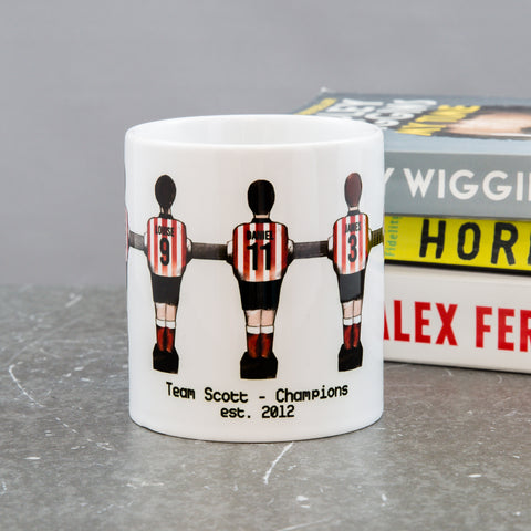 Retro Mug Family Portrait - Customised Foosball Table Football Players For Your Team - Unique Gift For Dad