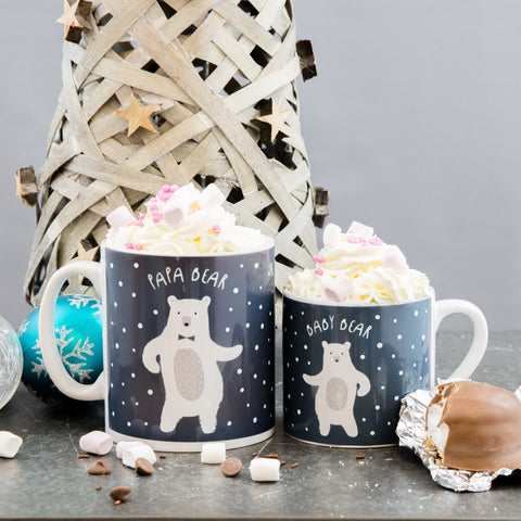 Christmas Family Mug Set - Dancing Bears In Snow Scene - Daddy Mummy Kids Personalised Baby Chino Gift