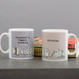 Gift For Teacher - Book Themed Personalised Mug 'Biggest Bookworm In Town'- Present For Reader