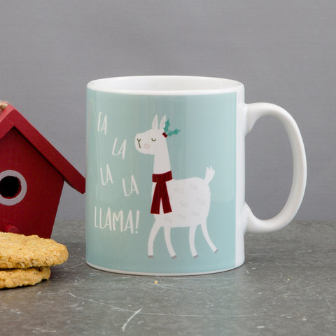 Llama Fun Mug - Customised Mug 'Fa-La-La-La-Llama' Chistmas Themed - Secret Santa Customised Gift