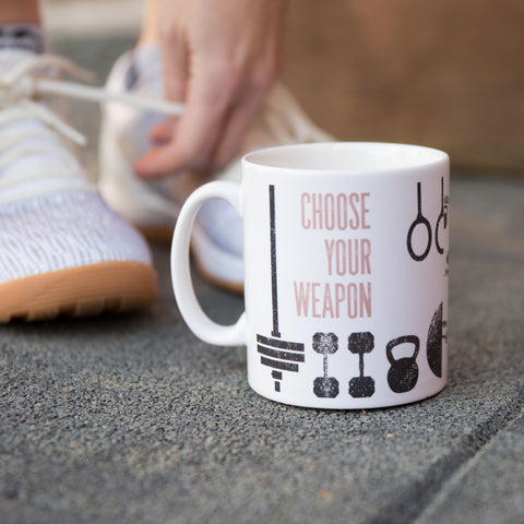 Pre Workout Mug - Choose Your Weapon Gym Equipment Personalised - Crossfitter Fitness Torture Mug Gift