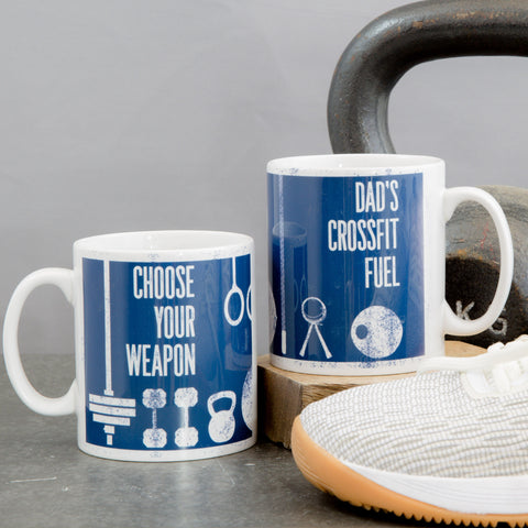 Fitness Gift - Gym Equipment Personalised Mug Coster Gift set - Weights Fitness Crossfitter Secret Santa