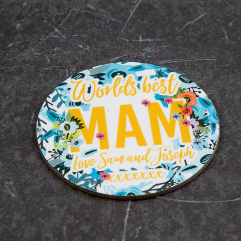 Mother's Day Gift - Fully Personalised Coaster with funky floral design - great for Mam, Ma, Mom, Nan, Grans