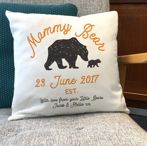 "Mama Bear Cushion - Customise number Cubs and your version of ""Mama"""