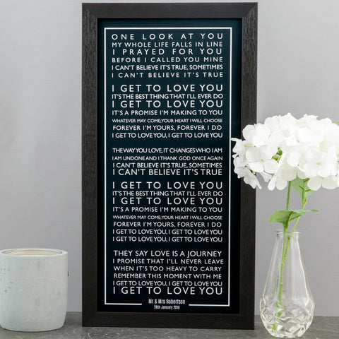 Bus Blind Style Personalised Song Words Or Vows Or Speech Or Poem Framed in Contemporary Typography Design