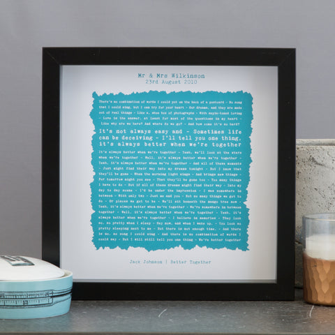 Favourite song lyrics, poem, reading or vows framed print
