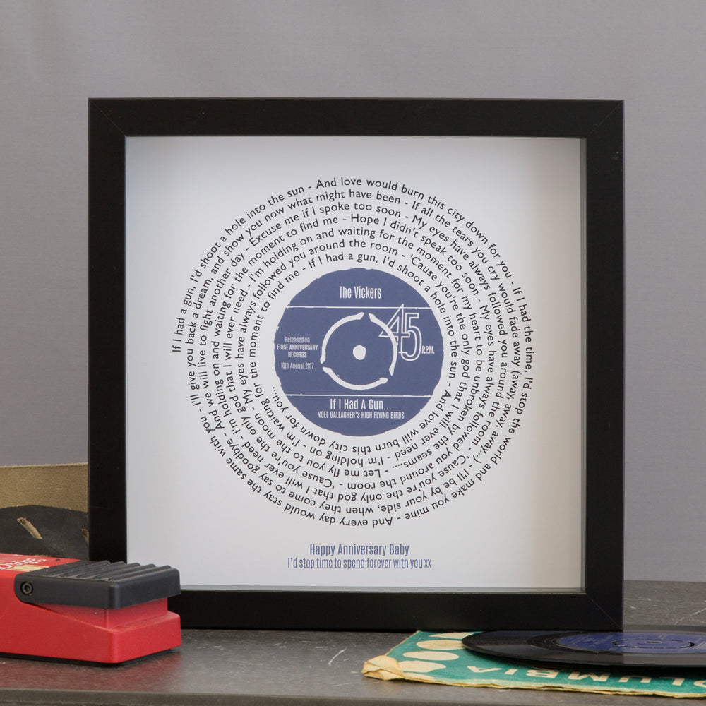 Personalised Vinyl Record Song Lyrics Print For Him | Not Just a ...
