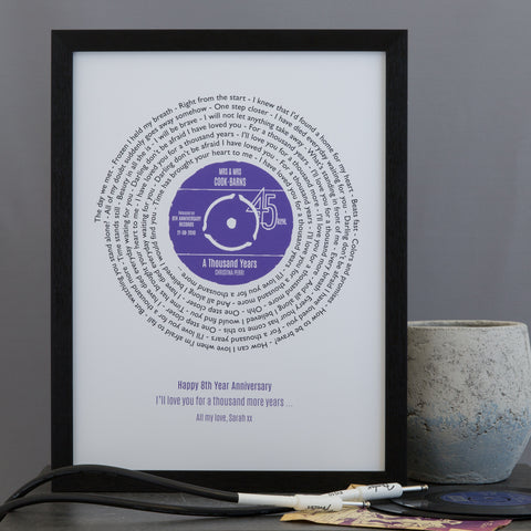 Presentation Disc Style Vinyl Record Personalised Song Lyrics Gift For Him