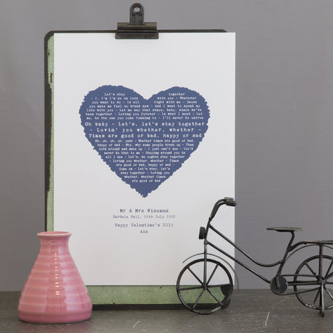 Romantic Heart Designed Print of Favourite Song, Vows, Poem or passage - Print Only Version