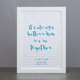 Song lyrics print in simple typography design