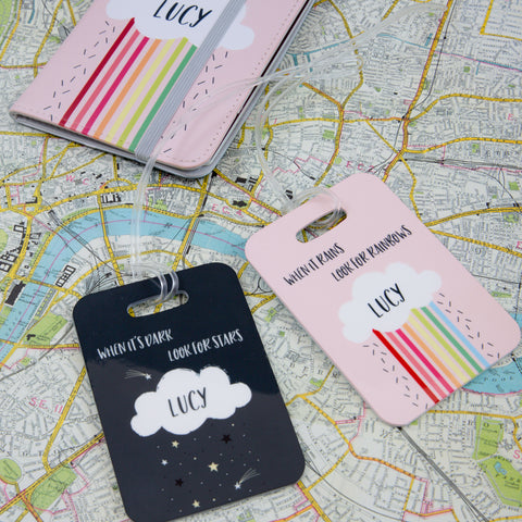 Rain Clouds And Rainbows - Motivational Message Passport Cover Personalised - Gift For Teenager Or Her