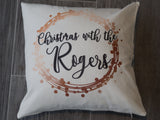 Personalised Christmas Cushion - Modern Metallic Effect Design in choice of colours