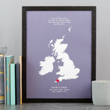 Venue Of Wedding Print Gift For Anniversary - Personalised Location Heart Print - Mr & Mr, Mrs & Mrs, Mr & Mrs