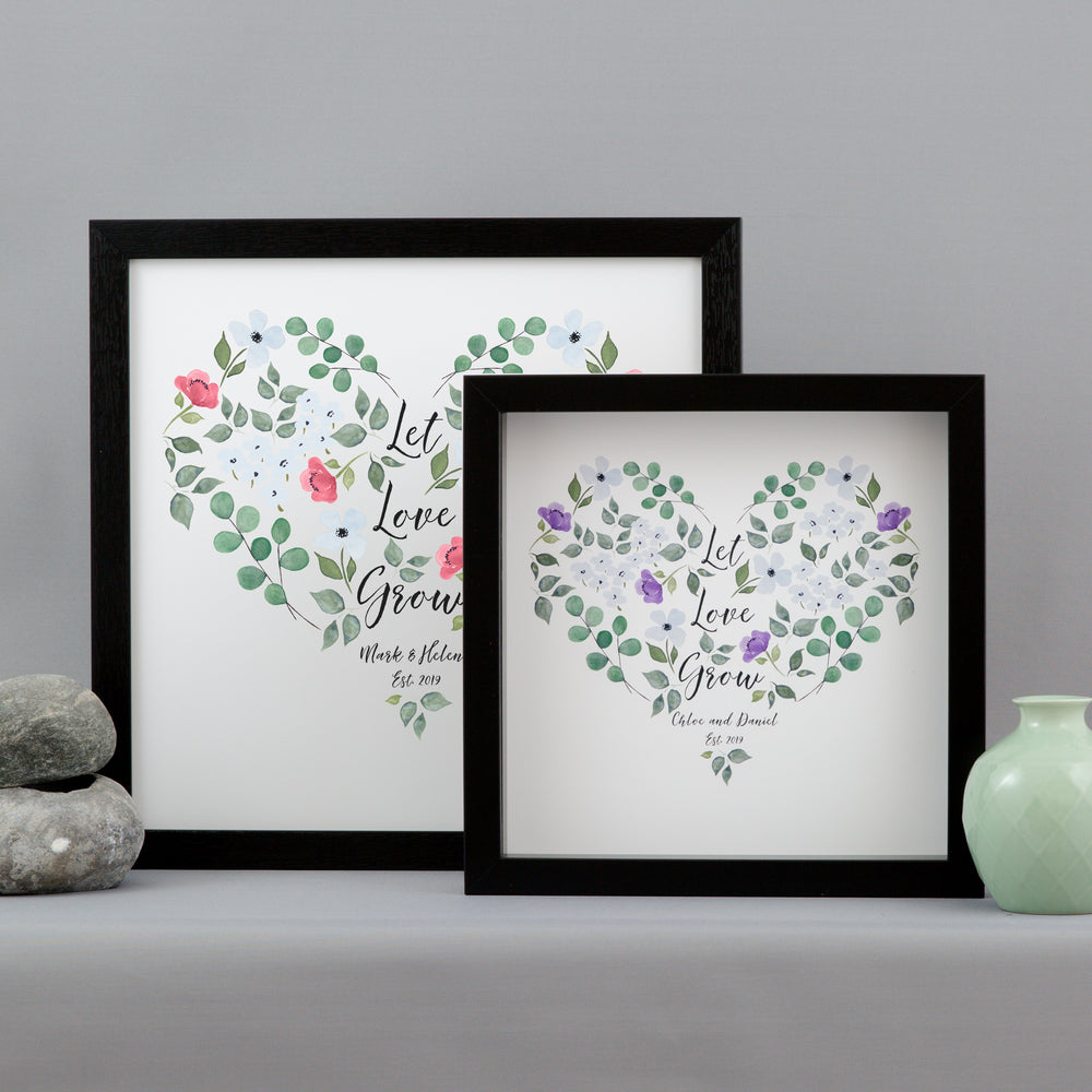 Romantic Wedding Gift For Couple - Let Love Grow Watercolour Flower Print Personalised - Gift For & Personalised watercolour botanicals wedding gift | Not Just a Print ...