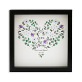 Romantic Wedding Gift For Couple - Let Love Grow Watercolour Flower Print Personalised - Gift For Her