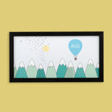 Personalised Nursery Print - Hot Air Balloon, Blue Sky And Mountains - Any Name Newborn Or Toddler Gift