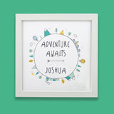 Personalised Children's Bedroom Picture - Adventure Themed Print - Christening Or Birthday Gift