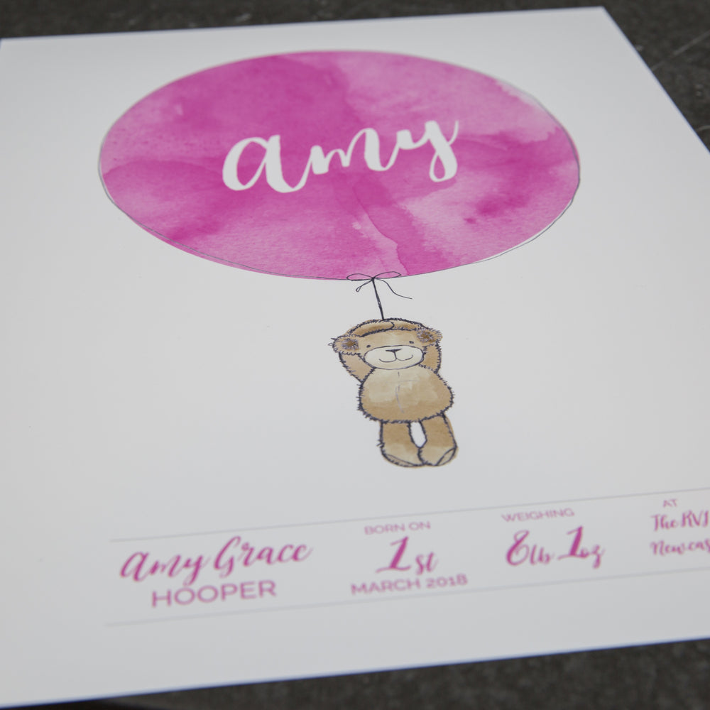 New Baby Gift Personalised Weight Date Newborn Gift Bear And Balloon Watercolour Christening Present