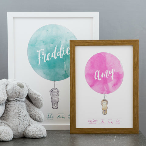 New Baby Gift - Personalised Weight Date Newborn Gift Bear And Balloon Watercolour - Christening Present