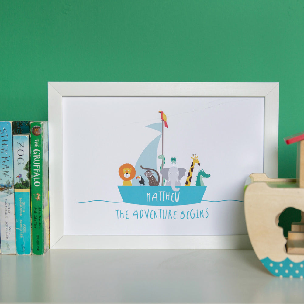 Noahs Arc Print - Personalised Childrens Name - Ideal Poster For Kids Nursery Playroom Or Bedroom