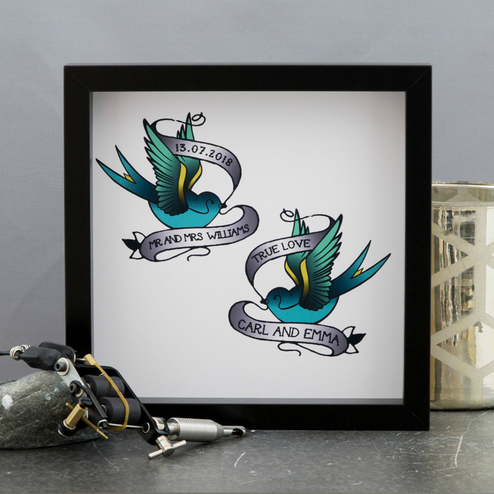 Romantic Eternity Print - Vintage Swallow Tattoos Representing True Love - Wedding Gift For Couple