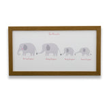 Nursery Print New Baby - Elephant Family Line Up Personalised Names - Newborn Or Christening Gift