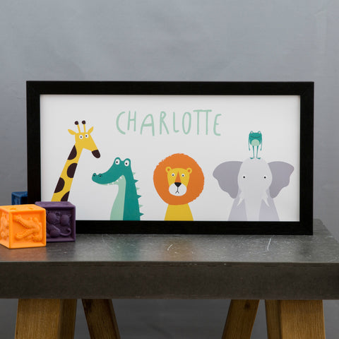 Modern Nursery Print - Jungle Animals Poster Personalised Lion Giraffe Elephant - Toddler Birthday