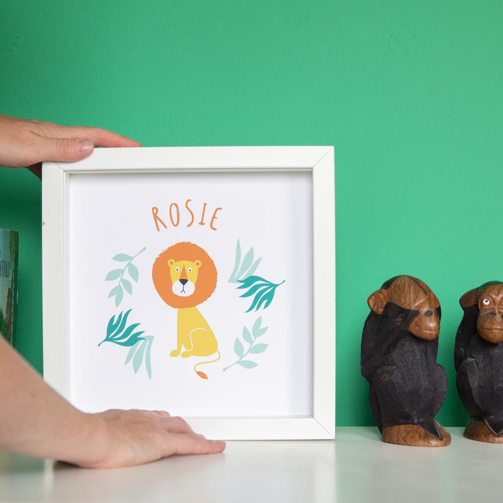 Kids Bedroom Or Playroom Print - Lion Personalised With Childrens Name - Toddler Newborn Birthday Gift