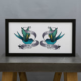 Unusual Wedding Present - Swallows With True Love Emblem In Sailor Jerry Style - Anniversary Gift For Her