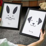 Childrens Name Print - Set Of Posters Dog Cat Rabbit - Modern Nursery Personalised Monotone Gift
