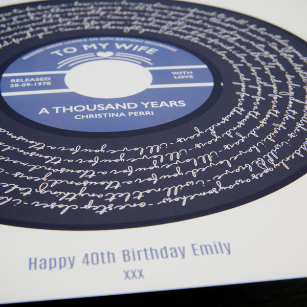 30th Birthday Present Personalised song print Vinyl Record Valentine/'s Day