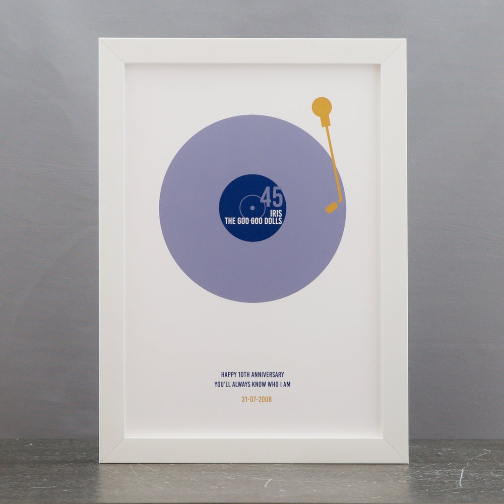 Personalised Gift For Wedding Or 1st Anniversary For Him Simple Vinyl Turntable Design Any Song Print